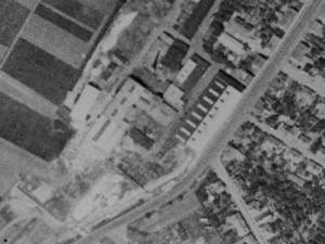 Objekt továrny Svoboda na leteckém snímkování ze začátku padesátých let.